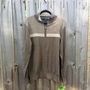 Brown soft merino wool zip up pull over sweater
